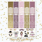 Lavender Rose Planner Stickers Weekly Kit Sheet 2 AD