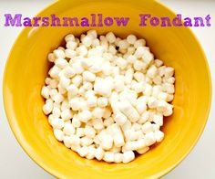 Easy Marshmallow Fondant  1 pound bag of marshmallows  1/8 cup Crisco Shortening (you don't need much)  3 Tbls water  2 pounds Powdered Sugar  In a microwave safe bowl, melt marshmallows with 2 Tbls of water for 35 seconds. Remove from microwave and mix. Repeat up to approx 2 minutes.