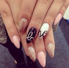 #Pink #Gold #Glitter #Black #White #Oval #Love