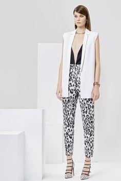 Issa | Resort 2016 | 13 White waistcoat, monochrome leopard-printed trousers and black sleeveless top