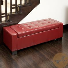 $215 - Burgundy ottoman - Christopher Knight Home Guernsey Red Bonded Leather Storage Ottoman | Overstock.com