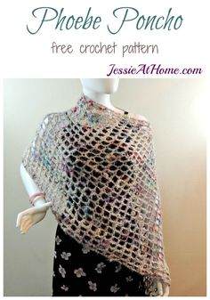 Looking for perfect summer style? This free easy crochet pattern for the Phoebe poncho is a great boho accessory that isn't too hot or heavy to wear. Crochet Poncho Patterns, Crochet Shawls And Wraps, Crochet Scarves, Crochet Clothes, Sweater Patterns, Knitting Patterns, All Free Crochet, Knit Crochet, Crochet Hats