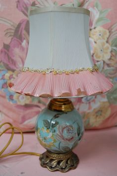 Lovely vintage romantic lamp and shade.