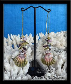 "Custom for ""Kathy"" in Texas, green & pink Moonrise Sunrise Shell ""Fantasy Shells"" earrings on 18k gold long wire earrings ♥ MonicaByTheShore Parker - Google+"