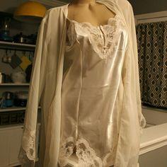Bridal lingerie set NWT Sheer robe with satin slip, off white in color vx intimates  Intimates & Sleepwear Chemises & Slips