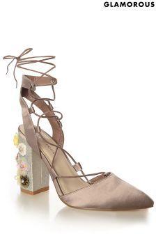 Saténové střevíčky Glamorous s květovaným podpatkem