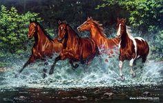 Artist Chris Cummings Unframed Wild Horses Picture Cascade Run | WildlifePrints.com