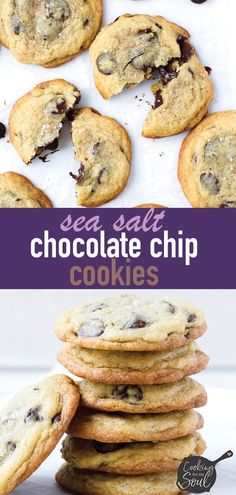Sea Salt Chocolate Chip Cookies (Soft and Chewy) - Cooking For My Soul Sea Salt Chocolate Chip Cookies! These salted chocolate chip cookies are a bit crispy on the edges and soft in the center. So perfect, and best when served warm Sea Salt Chocolate, Best Chocolate, Homemade Chocolate, Chocolate Recipes, White Chocolate, Tiramisu, Crispy Chocolate Chip Cookies, Cheesecake, Chips