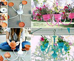 Transform a junk shop chandelier into a lovely Terracotta Planter Chandelier.  It's a great repurpose you'll enjoy!