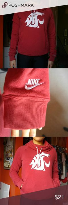 Nike Women's cowl neck cougar sweatshirt Cowl neck Washington State University Sweatshirt. Has pockets in the front as shown in 3rd picture. Great sweatshirt, looks like new. I don't attend this school anymore. Nike Tops Sweatshirts & Hoodies
