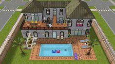 Rear exterior view of single female house - in my Sims Freeplay