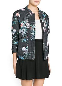 Oriental print bomber jacket crafted in a cotton-blend textured fabric. Mao collar, concealed zip and snap button fastenings through front, twin side zip pockets and elastic edges. Printed Bomber Jacket, Print Jacket, Oriental Print, Mango France, Trendy Fashion, Womens Fashion, Cool Style, My Style, Sweatshirts