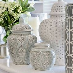 "Oh my 💙 The new ""Allette"" collection of ginger jars has arrived and we are in love! Soft and pretty, this subtle range is one to add to a… Hamptons Style Decor, Hamptons House, The Hamptons, Blue Living Room Decor, Family Room Decorating, Interior Styling, Interior Design, Ginger Jars, Porch Bed"
