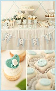 Cute baby boy baby shower with a subtle color scheme.