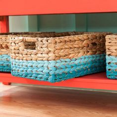 Give an ordinary woven basket a facelift with paint. It's an easy project that lets you organize craft supplies or other odds and ends in style.  Tools 1-1/2-in angle sash paintbrush Materials Basket Painter's tape Steps Step 1 Choose three shades of paint. Apply the darkest color (we used Monterey Bay Teal) to the bottom braid and the bottom edge on all four sides of the basket with an angled paint brush. Let dry. Step 2 On the braid above the bottom one, paint the medium color (we used…
