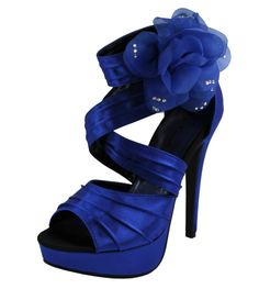 New women's shoes evening stilettos satin buckle party wedding prom royal blue