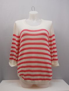 NY Collection Sweater Size 2X Striped Cuffed 3/4 Sleeves Scoop Neck Thin Knit  #NYCollection #ScoopNeck