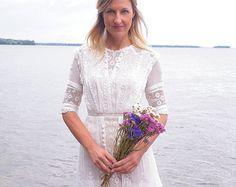Edwardian antiken Kleid, Edwardian weißer Baumwolle Kleid Filet Lace Hochzeitskleid, 1910er Jahre Tee Kleid, bestickt Kleid