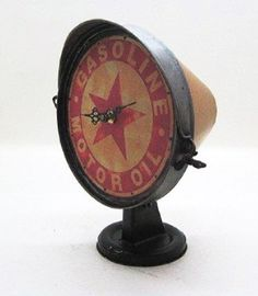 Motor Oil Clock - rustic style to look like a motorcycle headlight  #christmasgiftsformen #giftsformen