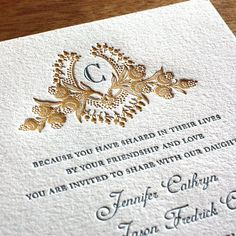 Personalized monogram simple letterpress wedding invitations