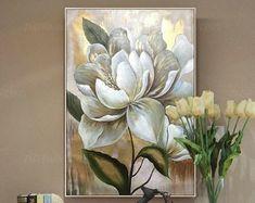 Oro hoja flor acrílico pintura sobre lienzo original extra | Etsy