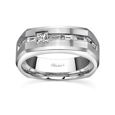 Mens Wedding Band - MP1769GW - This classic mens diamond wedding band features a white gold comfort fit shank with a beveled edge.  A burnish set princess cut diamond is accented with a channel of baguette cut diamonds, set end to end, appearing to run through it.  Available with a satin or a bright polish finish for two distinctively different looks.  Also available in yellow gold, 18k and Platinum.