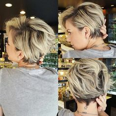 100 Mind-Blowing Short Hairstyles for Fine Hair Blonde Pixie Bob With Dark Roots Blonde Balayage Bob, Blonde Highlights, Blonde Ombre, Ombre Hair, Thin Hair Cuts, Haircuts For Fine Hair, Pixie Haircuts, Blonde Haircuts, Sassy Haircuts