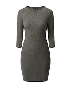 Dark Grey Ribbed 3/4 Sleeve Mini Dress | New Look