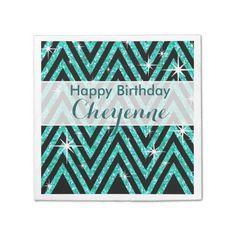 Glitter Chevron Bling Glam | teal Napkin