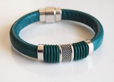 Teal Green Licorice Leather And Green O ring Bracelet- Bangle bracelet- - Cuff Bracelets.Beautiful 10x6mm teal green licorice leather bangle bracelet