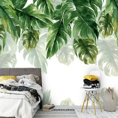 Tropical Rainforest Banana Leaves Green Leaf Wallpaper Wall Mural, Hanging Leaf Oil Painting Wall Mural, Wall Decor Wall Art for Home Decor - Dekor Green Leaf Wallpaper, Wallpaper Wall, Banana Leaves Wallpaper, Tropical Wallpaper, Wall Art Decor, Room Decor, Mural Wall, Wall Mural Painting, Painted Wall Murals