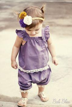 Ensemble pour petite fille, tunique manches volantées, sarouel, dentelle #pattern #tuto