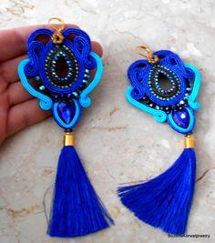 Long soutache earrings от BozenaKorwatJewelry на Etsy