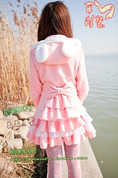 Happy spring dress knitted cashmere rabbit ears hooded jacket lolita lolita sweet flounced blouse D8yqrpslslrmg from English Agent:BuyChina.com