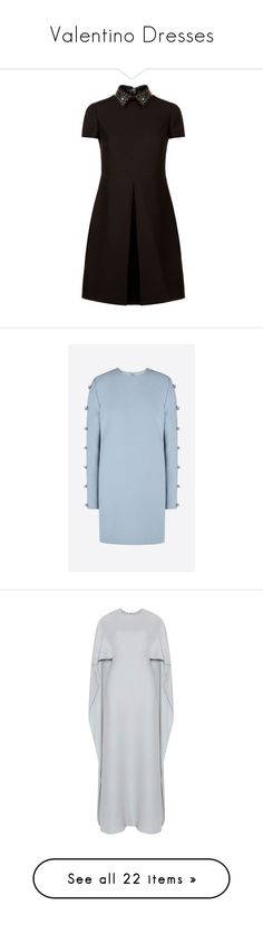 """""""Valentino Dresses"""" by lauren-beth-owens ❤ liked on Polyvore featuring dresses, short sleeve dress, star dress, valentino dresses, box pleat dress, studded dress, azure, blue long sleeve dress, blue embellished dress and couture dresses"""