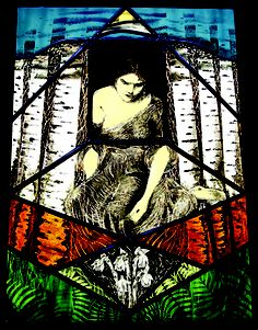 The Healer huguette gauthier glass paints on stained glass