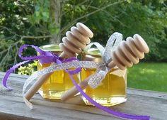 Wedding Favors, 100 Raw Wildflower Honey 2oz Jars, Raw Honey, Medicinal, Tennessee Wildflower Wood Dippers. $400.00, via Etsy.