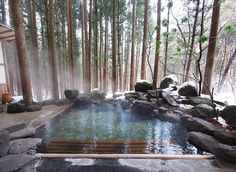 Another example of a pool / spa blending into the environment.Satonoyu Ryokan, Kurokawa Onsen Area, Kumamoto-ken (Kyushu) - Absolutely inviting, comfortable and well taken care of; stunning outdoor onsens await you here! Resorts, Kurokawa Onsen, Kumamoto, Dream Pools, Cool Pools, Pool Designs, Hot Springs, Water Features, Swimming Pools