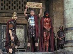 02-Pilate respects Jesus.  Jesus has had the nerve to stand up to the stubborn Jewish leaders.  He is the only one Jesus has a real conversation with during his night of illegal trials.  Pilate tries to get Jesus out of being executed.  He orders him beaten with metal-tipped whips just short of killing him to satisfy the leaders' lust for blood.  It is not enough.  So he signs the death warrant, but puts up another sign declaring Jesus is the Jews' king.  What happens to Pilate?