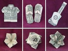 """The Guide to Hawaiian Style Money Folds is an excellent origami book with """"intermediate"""" level origami models. Clever designs which produce stunning pieces. Great for those who have significant exp Dollar Bill Origami, Money Origami, Paper Crafts Origami, Origami Art, Folding Money, Origami Folding, Origami Fish, Origami Instructions, Origami Tutorial"""