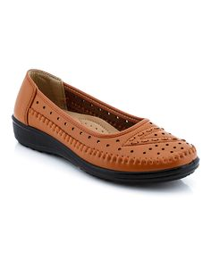 This Lady Godiva Tan Perforated Comfort Flat by Lady Godiva is perfect! #zulilyfinds