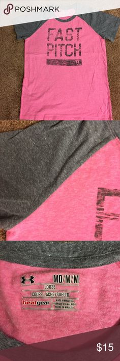 UA tshirt Fast Pitch UA softball shirt, pink:gray combo, washed but not worn, size M Under Armour Tops Tees - Short Sleeve