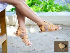 Leather sandals, Gladiator Sandals, Greek Sandals , Handmade Sandals, Women  Sandals, Handmade Sandals, Natural Colour Sandals, MELITTA by SandmadeSandals on Etsy