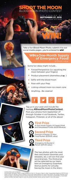 Win a FREE 1-month emergency food supply ($329.99 value) and other awesome prizes! Contest starts September 27, 2015, so click the link below for more information so you can be ready! #BloodMoonPhotoContest