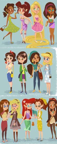 Y así se verían las princesas de disney modernas que lindas¡¡!!!!!!