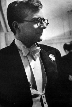 Dmitri Shostakovich looking sharp in evening dress. A premiere?