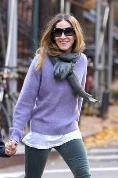 Sarah Jessica Parker Solid Scarf - Sarah Jessica Parker knotted a gray scarf around her neck while out in NYC with her son.