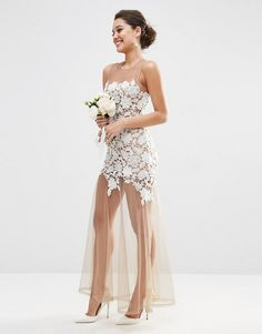 ASOS | ASOS BRIDAL Lace Placed Maxi Dress On Naked Mesh