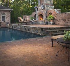 Hermoso patio con alberca y chimenea para mi próxima casa