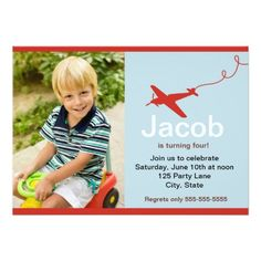 Photo Boy Airplane Birthday Invitation